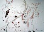 Eine Art Kühe / Hirsche - Zeichnung von Susanne Haun - Tusche auf Bütten - 30 x 40 cm