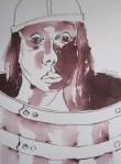 Er wurde in drei Fässer mit kaltem Wasser gebracht, um seine Wut abzukühlen - Zeichnung von Susanne Haun - 40 x 30 cm - Tusche auf Bütten