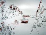 Trauminsel III - Zeichnung von Susanne Haun - 50 x 65 cm - Tusche auf Bütten