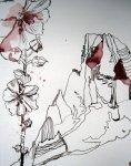 Ich greife das Thema der Stockrosen auf - Zeichnung von Susanne Haun