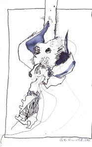 Verblühte Rose - Zeichnung von Susanne Haun - 17 x 22 cm - Tusche auf Hahnemühle cornwall