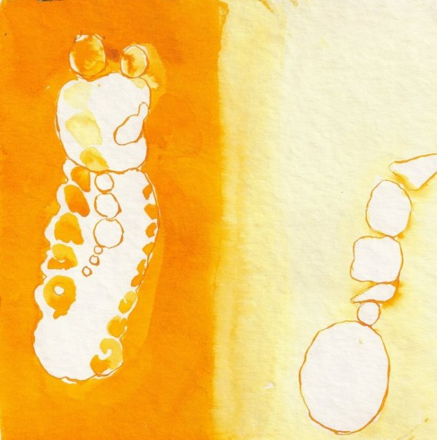 Frage - Entscheidung - hell - dunkel - Zeichnung von Susanne Haun - 20 x 20 cm - Tusche auf Bütten