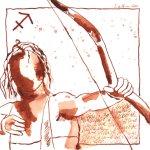 Der klassische Schütze - Zeichnung von Susanne Haun - 20 x 20 cm - Tusche auf Bütten