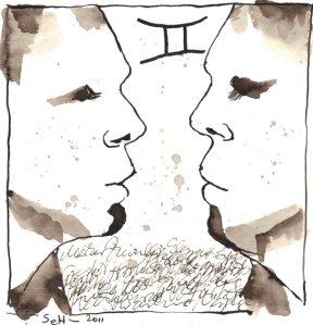 Zwilling Version 1 - Zeichnung von Susanne Haun - 20 x 20 cm - Tusche auf Bütten