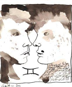 Zwilling Version 2 - Zeichnung von Susanne Haun - 20 x 20 cm - Tusche auf Bütten