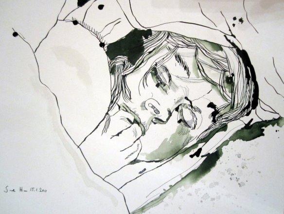 Unter dem Kissen - Zeichnung von Susanne Haun