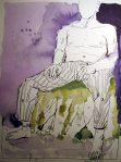 Dreimal fünfzig Kanben um Folloman den Sohn Conchobars bei ihren Künsten auf dem Anger von Emain - Zeichnung von Susanne Haun