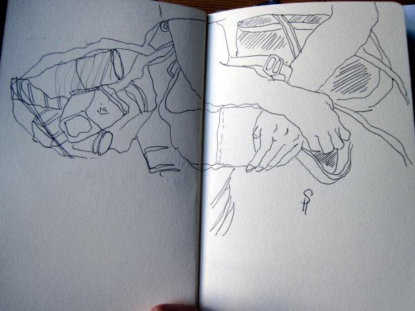 Skizze in der U-Bahn von Susanne Haun