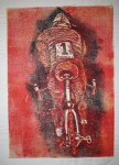 Radfahrer - Linolschnitt von Susanne Haun - 30 x 21 cm von 2000