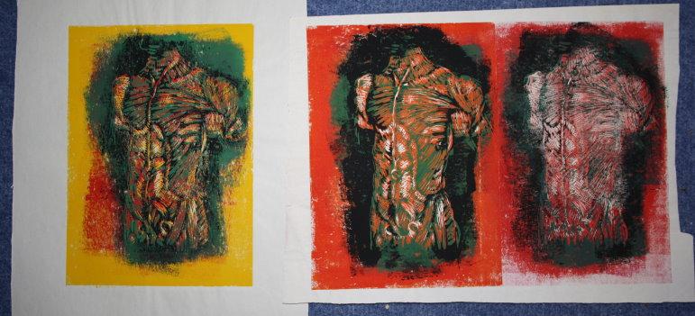 Männlicher Torso - Linolschnitt von Susanne Haun - 20 x 15 cm von 2000