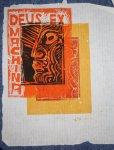 Deus ex machina - Linolschnitt von Susanne Haun 25 x 20 cm - 1999