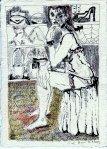 2003 - Im Schuhladen - Zeichnung von Susane Haun - Rapidograph und Buntstift auf Bütten