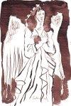 Verkreuzter Engel - Zeichnung von Susanne Haun - Tusche auf Bütten - 10 x 15 cm