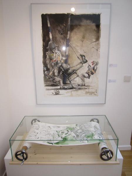 Zeichnung von Andreas Nossmann und Objekt von Susanne Haun