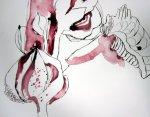 Und ich habe eine weitere Stockrose begonnen - Auschnitt Zeichnung von Susanne Haun 200 x 40 cm