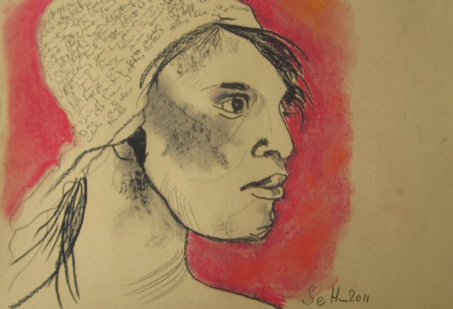 Schicksalhaftes Mädchenportrait - Zeichung von Susanne Haun - Kohle und Pastell auf Hahnemühle Kraftpapier - 21 x 30 cm