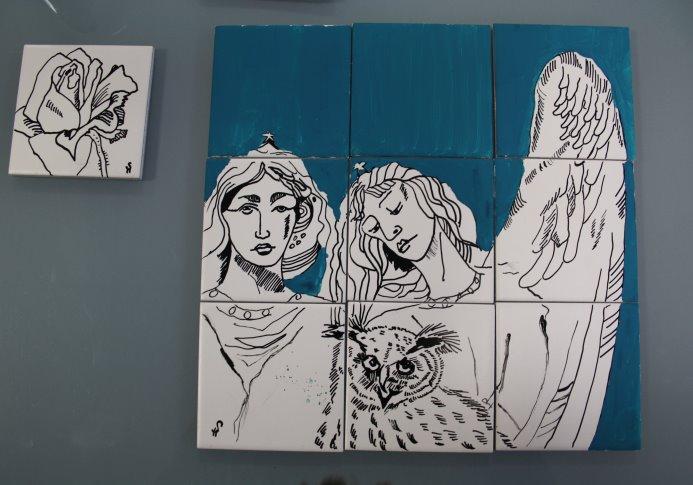 Zeichnungen auf Keramiken von Susanne Haun