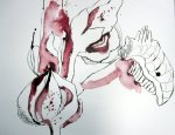 Jede geschlossene Blüte verheißt einen neuen Tag - Auschnitt Zeichnung von Susanne Haun 200 x 40 cm