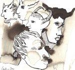 Dämone Vers 3 - Zeichnung von Susanne Haun - Sepia auf Hahnemühle Bütten - 17 x 17 cm