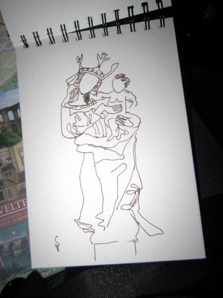 Skizze der Jungfrau Maria im Dom von Susanne Haun