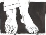 Vom Gehen wurden mir die Beine lahm - Version 2 - Zeichnung von Susanne Haun - Tusche auf Bütten - 17 x 22 cm
