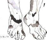 Vom Gehen wurden mir die Beine lahm - Version 3 - Zeichnung von Susanne Haun - Tusche auf Bütten - 17 x 22 cm