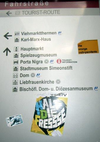 Wegweiser in Trier - Foto von Susanne Haun