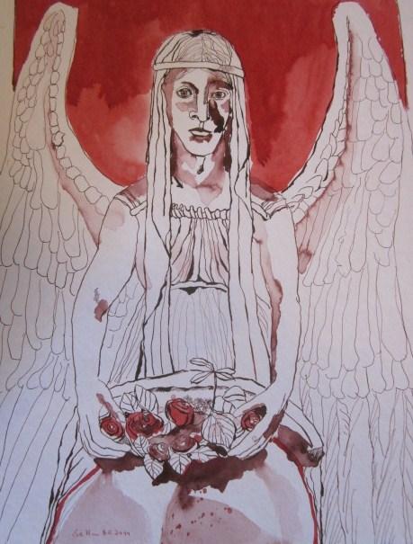 Engel mit Blumenschale von Susanne Haun zu sehen in der Galerie Zeitlos