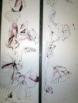 Ausschnitt Zeichnungen Stockrosen von Susanne Haun - 200 x 40 cm auf Hahnemühle Bütten