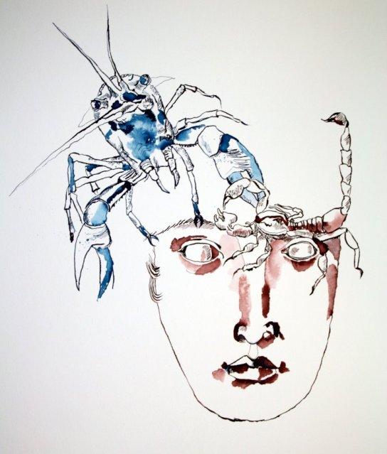 Jetzt fehlen noch die Fische - Entstehung Zeichnung von Susanne Haun