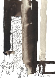 Die anderen Leute kommen nie zur Ruhe - Zeichnung von Susanne Haun - Sepia auf Bütten - 22 x 17 cm