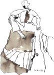 Sie sitzen nicht am Rande der Klippe - Zeichnung von Susanne Haun - Sepia auf Bütten - 22 x 17 cm