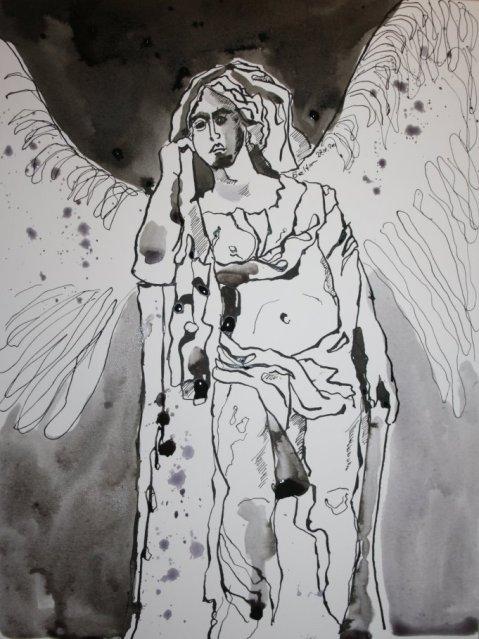 Trompetenengel - Zeichnung von Susanne Haun - Tusche auf Lanaquarelle - 23 x 31 cm