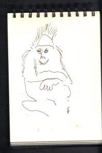 Gorilladame - Skizze von Susanne Haun