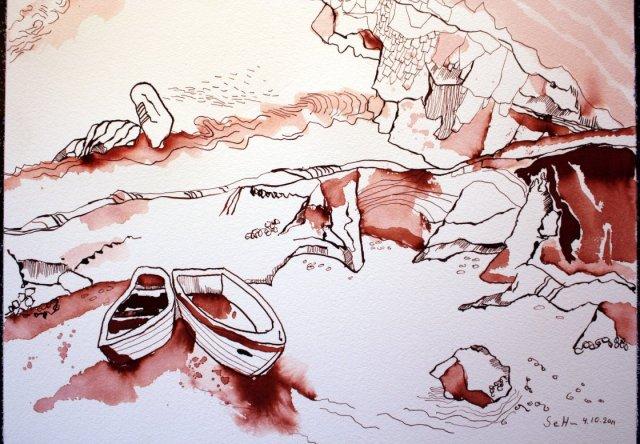 Allgäuer Traumlandschaft - Zeichnung von Susanne Haun - Tusche auf Bütten - 30 x 40 cm