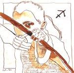 Schütze - Zeichnung von Susanne Haun - Tusche auf Bütten - 20 x 20 cm