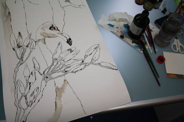 Ich zeichne den Flamingo zwischen den Pepperoni - Zeichnung von Susanne Haun