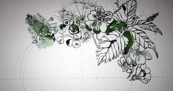 Brennnessel, Löwenzahn, Heidelbeeren, Spitzwegerich, Scharfgabe - Zeichnung von Susanne Haun