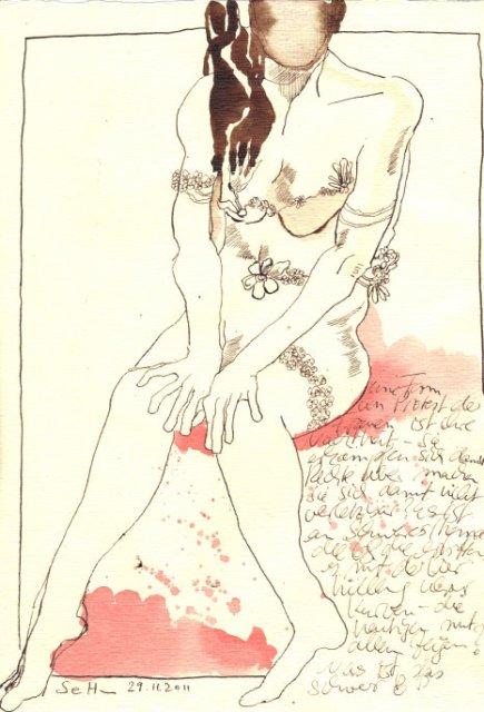 Weibliche Nacktheit - Zeichnung von Susanne Haun -Tusche auf Bütten - 30 x 20 cm