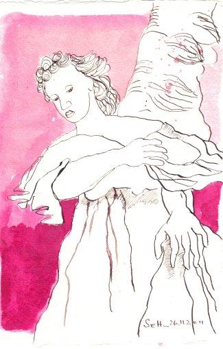 Karminroter Schutzengel - Zeichnung von Susanne Haun - Tusche auf Bütten - 20 x 15 cm