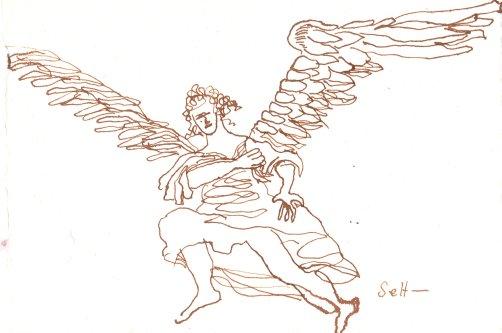 Eiliger Engel - Zeichnung von Susanne Haun - Tusche auf Bütten - 20 x 15 cm