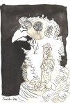 Truthuhn - Zeichnung von Susanne Haun 17 x 12 cm - Tusche auf Burgund Bütten