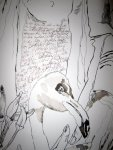Ich überlege mir genau, wo ich die Schrift setzte - Detail Flamingo von Susanne Haun