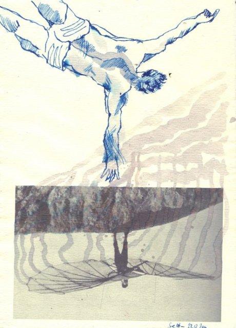 Lilienthal - Kopfüber - Übermalung/Zeichnung von Susanne Haun - Version 4 - 30 x 20 cm