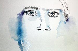 Beginnend mit den Augen - Detail - Entstehung Enkelin - Zeichnung von Susanne Haun