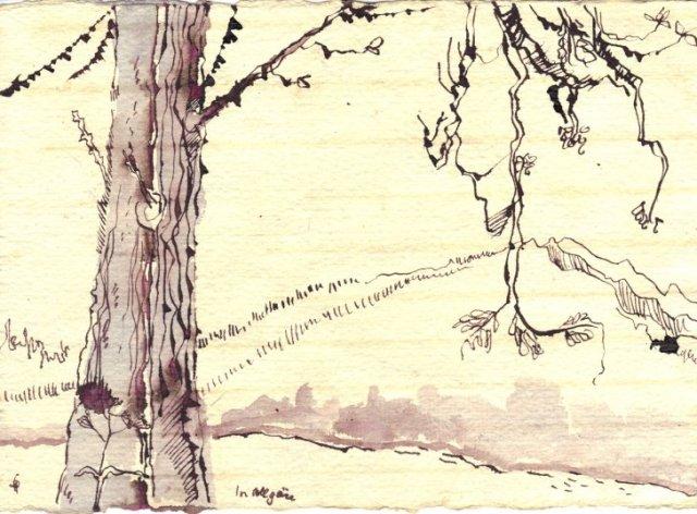 Im Allgäu Version 1 - Zeichnung von Susanne Haun - Tusche auf Bütten - 15 x 20 cm