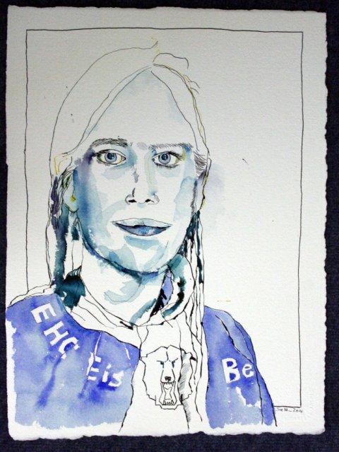 """Portrait """"Enkelin"""" - Zeichnung von Susanne Haun - 40 x 30 cm - Tusche auf Leonardo Büttenpapier"""