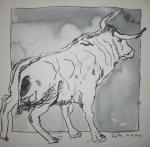 Stier auf der Weide - Zeichnung von Susanne Haun - Tusche auf Bütten - 15 x 15 cm