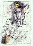 Engel - Zeichnung von Susanne Haun von 2005 - Rapidograf und Buntstift