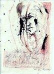 Gesicht - Zeichnung von Susanne Haun von 2005 - Rapidograf und Buntstift